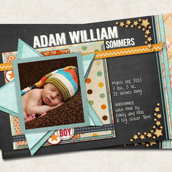 Star Baby Boy Birth Announcement Thank You, Shower, chalkboard, stars, plaid, black blue orange, Digital File