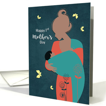 Happy 1st Mother's Day with African American Mother and Baby card