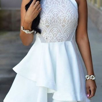 White Patchwork Lace Tiered Band Collar Fashion Mini Dress