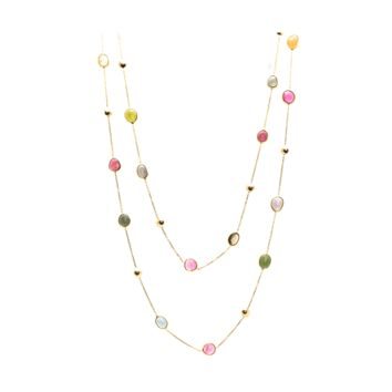 Tresor Collection - Multicolor Tourmaline Long Station Necklace in 18k Yellow Gold