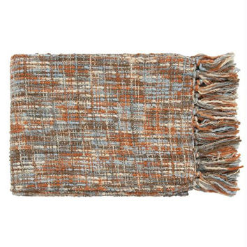 Throw Blanket - Orange Rust, Ivory, Light Blue, Mushroom Gray