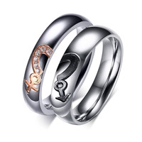 For His and Her Love Couple Rings With Cubic Zirconia Crystal