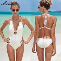 Sexcer 2017 One Piece Swimsuit Bandage For Women Solid Cut Out Monokini Sexy Swimwear Female Bathing Suit Bodysuit Girl Swimsuit