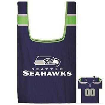DCCK8X2 NFL Seattle SeaHawks Eco Friendly Reusable Grocery Bags with Jersey Style Storage Pouc