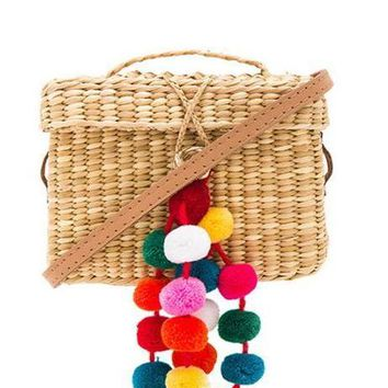 Colorful Pom Pom Straw Rectangle Handbag