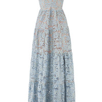 Dress The Population Blue Melina Lace Maxi