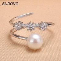 BUDONG Fine Jewelry for Women Adjustable Size Cultured Freshwater Pearl Finger Ring 925 Sterling Silver Jewelry Engagement Ring