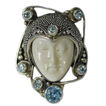 Sterling Silver Micro-Beaded Carved Buffalo Bone Face with Blue Topaz Ring