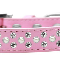 Sprinkles Dog Collar Pearl and Clear Crystals Size 16 Light Pink