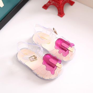 2018 New Kids Mini Melissa Jelly Sandals For Baby Girls ice cream Children Summer Cute Cartoon Beach Shoes Infantil Sandalia