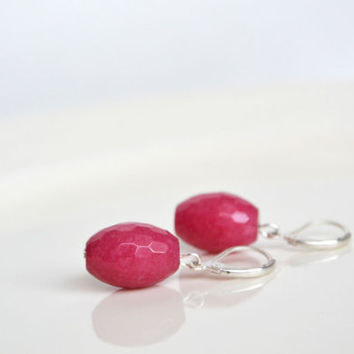 Pink Jade Earrings, Juicy Sparkling Fuschia  Earrings, Hot Pink Dangling Earrings Leaver Backings, Pretty in Pink,