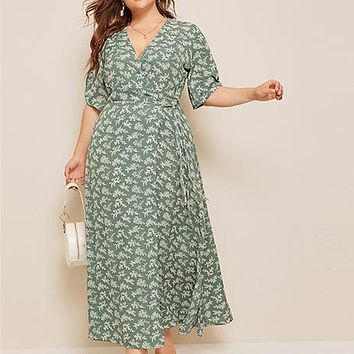Plus Size Ditsy Floral Knot Side Wrap Maxi Dress Women Half Sleeve V Neck Fit and Flare Boho Empire Dresses