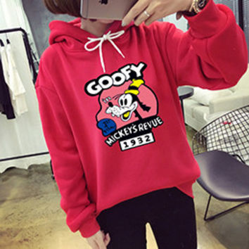 Goofy Mickey's Revue 1932 Red Autumn Korean Kawaii Cartoon Lovely Hoodie Fleece Loose Womens Harajuku Goofy Pattern Pullovers