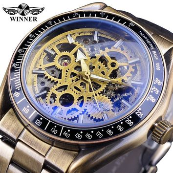 Winner Retro Royal Design Blue Glass Steampunk Fashion Skeleton Full Steel Men Mechanical Automatic Sport Watch Top Brand Luxury