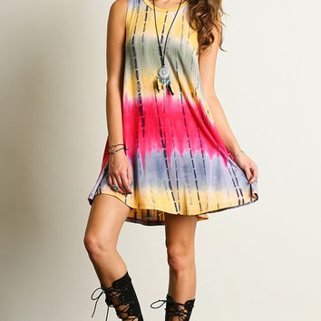 Good Vibes Dress - Fuchsia and Yellow