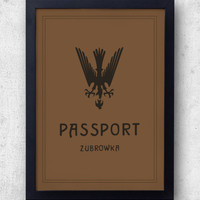 Zubrowka Passport print, inspired by The Grand Budapest Hotel, Wes Anderson, ralph fiennes, lobby boy