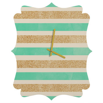 Allyson Johnson Glitter And Mint Quatrefoil Clock