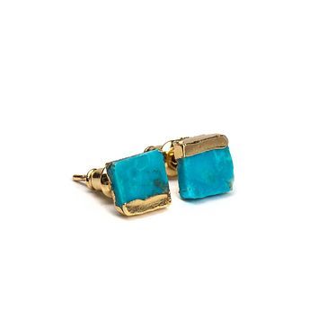 Gold Dipped Turquoise Stud Earrings