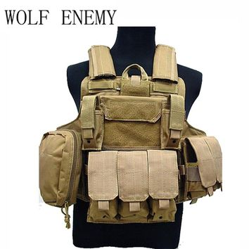 Tactical Vest Molle Airsoft Combat Vest W/Magazine Pouch Releasable Armor Plate Carrier Strike Vests Hunting Clothes Gear