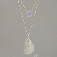 """Layered Necklace Ball Chain with Cubic Zirconia of your Choice, Extended Feather Pendant, 16"""" plus 3.25"""" Pendant Necklace"""