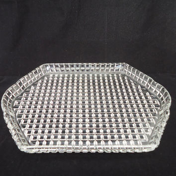Vintage Art Deco Clear Glass Tray, Depression Clear Glass Tray, UK Seller