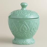 Sea Blue Embossed Ceramic Canister