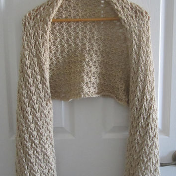 Lacy Shawl - Beige Shawl - Hand Knit Wrap - Summer Shawl - Knitted Wrap - Lacy Knit Shawl - Made in Canada - Soft Knitted Shawl - Shawlette