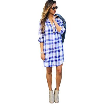 Sawyer White/Blue Raspberry Shirtdress