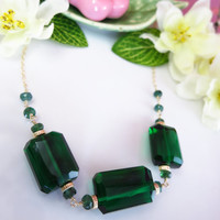 Chrome green tourmaline quartz nugget statement necklace, Wizard of Oz emerald green necklace, Oz emerald green statement necklace