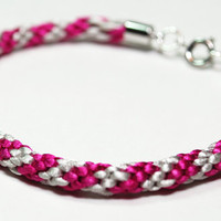 Kumihimo Bracelet with Clasp Satin Cord Pink by epicstitching