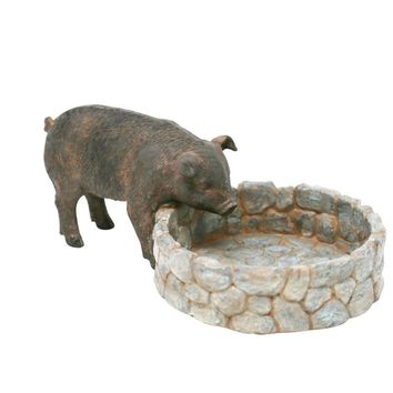 Unique Resin Round Flower Pot With Pig, Gray And Brown