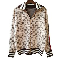 GUCCI Fashion Women Men Double G Jacquard Letter Zipper Knit Top Cardigan Sweater Blouse Coat Khaki