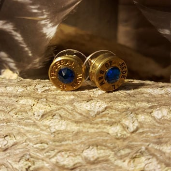 Handmade 9mm Federal Bullet Earrings With Blue Crystal Gem Outdoors Hunting