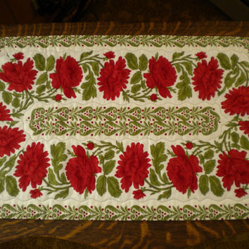 Red Floral Table Runner, Holiday Runner