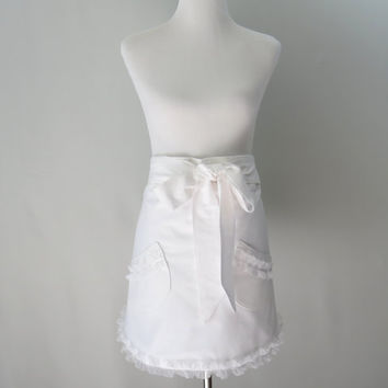 Womens White Half Apron, Ruffled, Lined, Bride, Wedding, Hostess, Bridemaids, Dressy, Feminine, Bridal Shower, Gift for Her