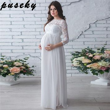Puseky Maternity Clothing Dress Pregnant Woman Party Holiday Dress Lady Lace Long Clothes Photo Shooting Dress Maxi Party Dreses
