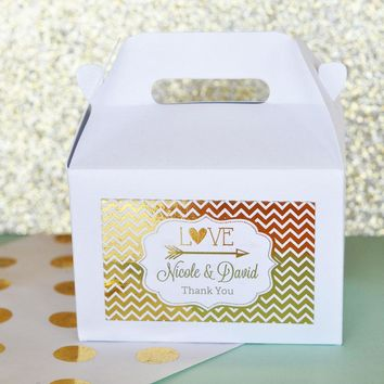 Personalized Metallic Foil Mini Gable Boxes (set of 12) - Wedding