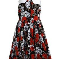 Vintage Retro Rare Skull Roses Punk Emo Rockabilly Pinup 1950s Swing Women's Dress