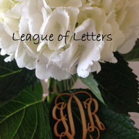 2 inch Wooden Monogram Letters Great for Chrismas Ornaments & Wedding Bouquet Charms