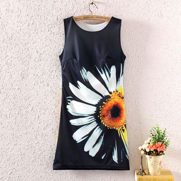 Fashion Vintage Spring Summer Women Lady Girl Sleeveless Sunflower Graphic Printed Short Mini Dress Printing Dresses
