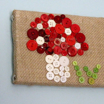 Button Art - 5x7 Mushroom/Blades of Grass Wall hanging, childrens room, kids room, woodland theme, wall art, burlap and buttons