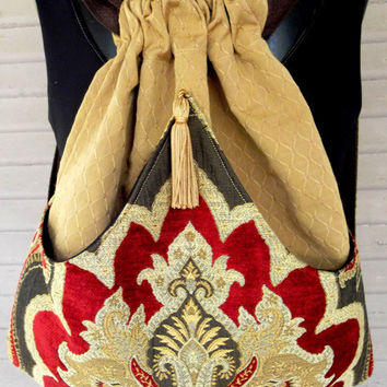 Tapestry Backpack Boho Backpack  Bohemian Tapestry Renaissance Backpack  Tapestry Bag  Sling Bag  Book Bag Tapestry