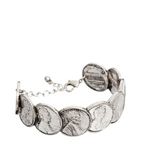 ASOS Coin Cuff Bracelet - Burnished silver