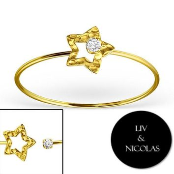 Solid 925 Sterling Silver 14K Gold Plated White Cubic Zirconia Star Bracelets Bangles