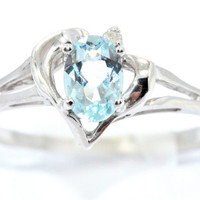 0.50 Carat Genuine Aquamarine Oval Heart Diamond Ring .925 Sterling Silver Rhodium Finish White Gold Quality