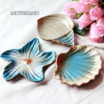 NEWYEARNEW ceramics Starfish Magic shell Soap Dish Soap seashells Tray Holder Soap Creative Plate Box Bath Shower Plate Bathroom