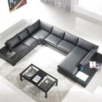 Modern Black Leather Sectional Living Room Furniture