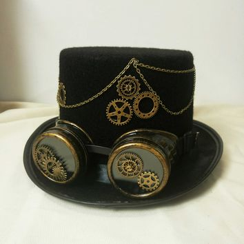 Mens Womens Steampunk Costume Black Goggles Top Hat
