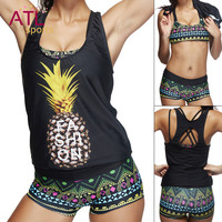 Pineapple Bikini Women 2016 Tankini Set Padded 3 Pieces Bikini Set Plus Size Swimsuit Female Bathing Suit Bodysuit Swimwear