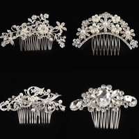 Women Flower Crystal Rhinestone Pearls Hair Comb Clip Wedding Bridal Headwear Hair Accessories = 1933188356